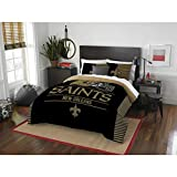 New Orleans Saints - 3 Piece FULL / QUEEN Size Printed Comforter Set - Entire Set Includes: 1 Full / Queen Comforter (86' x 86') & 2 Pillow Shams - NFL Football Bedding Bedroom Accessories