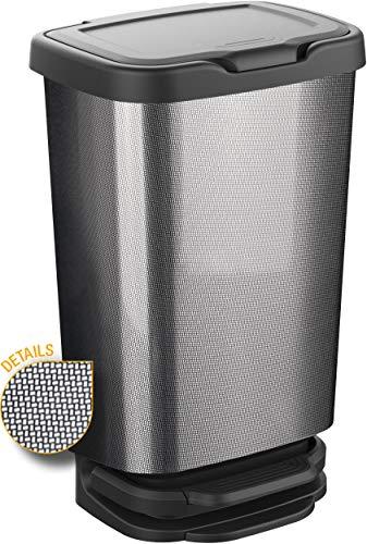 M-Home PLS8160-163 Poubelle à Pédale, Plastique, Carbone, 40 L