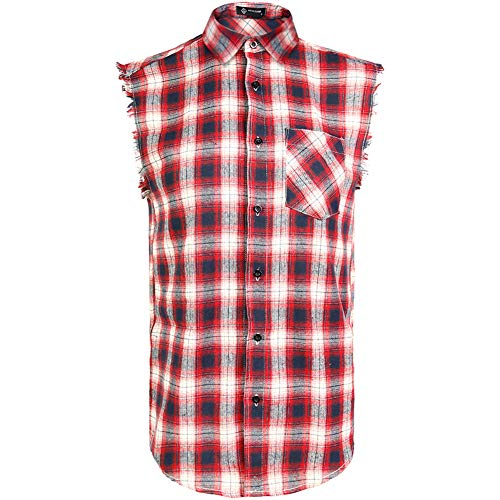 Cool Plaid Sleeveless Shirt for Men,Casual Muscle Performance Button Down Shirts Red