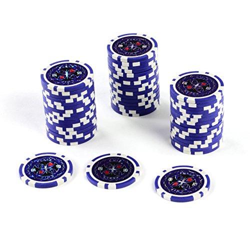 50 Poker-Chips Laser-Chips Metallkern 12g Poker Texas Hold`em Black Jack Roulette reflektierend Tokens Jetons Casino 1 Rolle Wert 1-10000 wählbar (Wert 10)