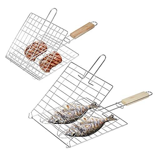 MEETANG 2 PCS Cestino per Barbecue Cestino per griglia per Pesce Pieghevole Portatile in Acciaio Inox con Manico in Legno per arrosto di Pesce Verdura Bistecca di gamberi