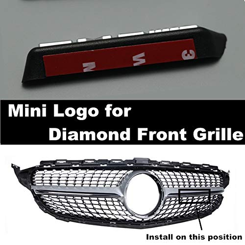 HCHD Diamant Grill AMG Mini Logo A B C E-Klasse W176 W246 W204 W205 W212 W213 Frontstoßstange Gitter passend for alle Automodelle (Color : Sliver Word)