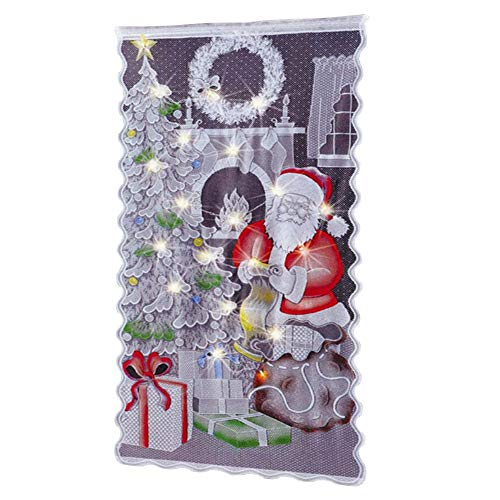 Kapokilly Cortinas De Encaje De Navidad, Patrón De Santa Claus Cortinas De Encaje Cortina De Santa Claus Navidad...