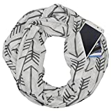 Jade Marie Lightweight Infinity Scarf, Arrow Pattern Infinity Scarfs For Women, Unique Shawl with Hidden Zipper Pocket for iPhone, Passport, ID (White)