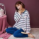 Pijama para Mujer - Dibujos Animados Impresos Summer Stripe Pjs Sleepwear Suit Soft Two Pieces Manga Larga Tops Pantalones Set Casual Soft Thin Loungewear Ropa De Noche para Adultos Señoras Femenina