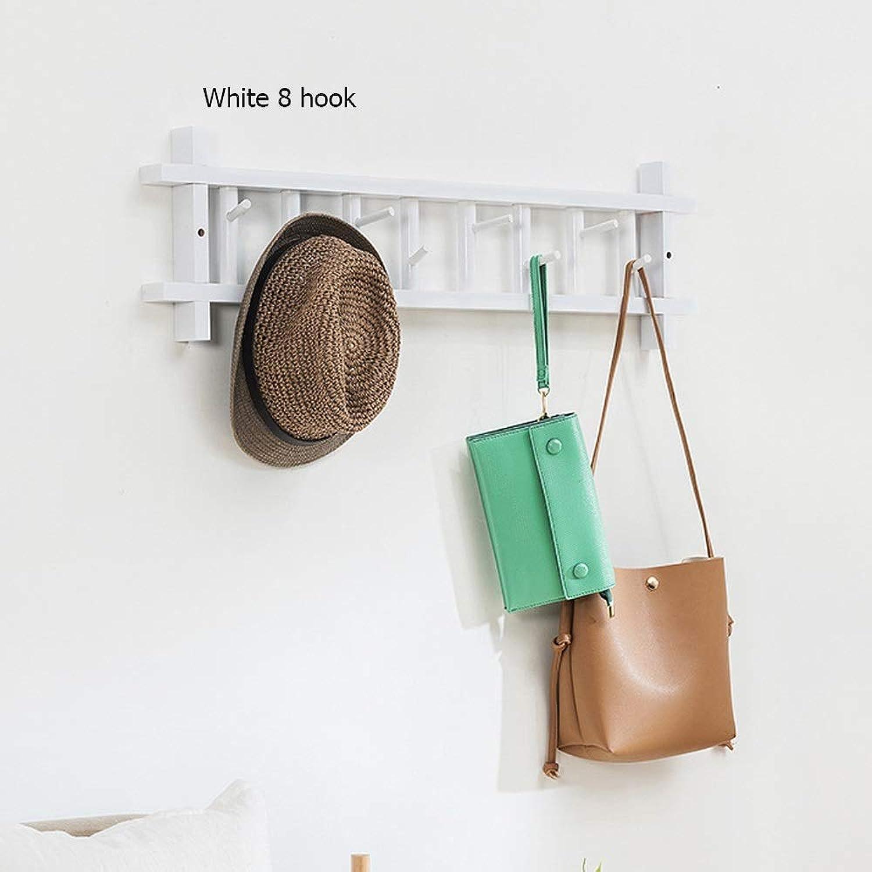 Household Wall Hanging Coat Rack Wall Bedroom Hook Door Hanger Storage clothes rack (color   White 8 Hook)