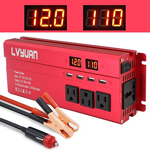 Yinleader Car Power Inverter 1000W/2000W(Peak) DC 12V to 110V AC Converter with Intelligent LED Display 4 AC Outlets 4 USB Charger for RV Caravan Truck Laptop(Red)