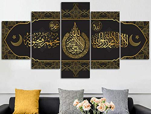 BHJIO 5 Piezas Cuadros Modernos Impresión De Imagen Artística Digitalizada Lienzo Decorativo para Tu Salón O Dormitorio Corán Caligrafía Árabe Islámica Regalo 150 X 80 Cm.