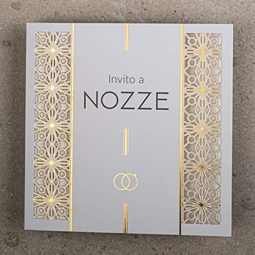 ART NUVO VEDDING INVITATIONS CARDS – 20 st, 135 x 135 mm, passar in i alla storlekar och exklusiva för att byta – LASER CUT, guldfoiLED, PRINTED DESIGN PÅ DOUBLE COATED PAPER