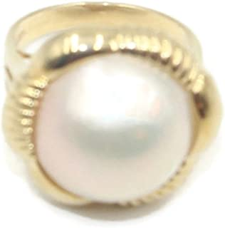 Sophia Fine Jewelry Mabe Pearl White Ring 14k Yellow Gold,Size 7 1/2