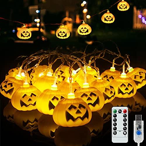 Grandi Luci di Zucca, 3.5 M 20 LED 8 Modalità Luci di Zucca di Halloween con Telecomando, Luci USB di Halloween per Decorazioni per Feste di Negozi di Casa all'Aperto/Interni (6.6x5.4 CM)