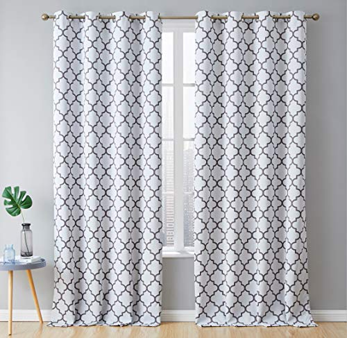 HLC.ME Lattice Print Decorative Blackout Thermal Insulated Privacy Room Darkening Grommet Long Window Drapes Curtain Panels for Bedroom and Office - Platinum White & Grey - 52 W x 96 L - Pair