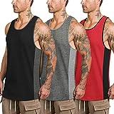 COOFANDY Camiseta de tirantes para hombre, de algodón, deportiva, sin mangas, para entrenamiento, correr, fitness, culturismo Negro Rojo Gris Oscuro M