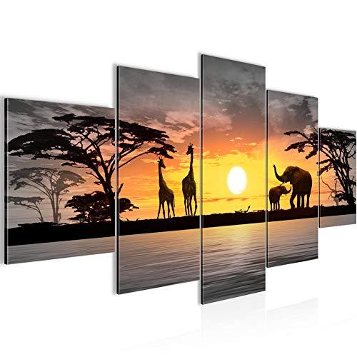 Tabla decoración de la pared animales africanos - 200 x 100 cm Vista de impresión en lienzo Salón Apartamento - listo para colgar - 000251c