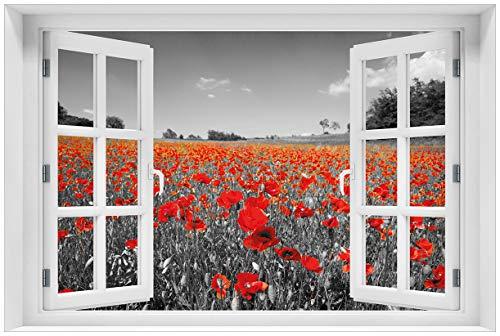 Wallario Acrylglasbild mit Fenster-Illusion: Motiv Mohnblumenfeld- rote Blumen in schwarz-weiß Fotografie - 60 x 90 cm mit Fensterrahmen in Premium-Qualität: Brillante Farben, freischwebende Optik