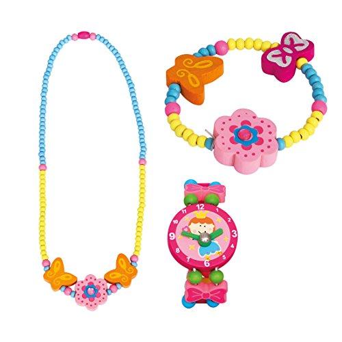 BINO 3 TLG. Set Holzschmuck Mädchenschmuck Kinderschmuck Motiv Blume Rosa - Halskette Armband und Armbanduhr