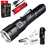 Klarus XT11GT 2000 Lumens CREE XPH35 HD E4 LED 18650 Tactical USB Rechargeable Flashlight with 1x 3100mah Battery,USB Charging Cable,Holster,O-ring and SKYBEN USB Light and Battery Case(XT11GT)