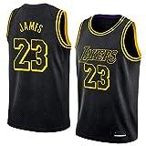HS-XP Jersey De Baloncesto para Hombres - Edición De La Ciudad NBA Los Angeles Lakers # 23 Lebron James Basketball Classic Sin Mangas Jersey Camiseta,Negro,XL(180~185cm)
