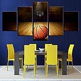 zysymx HD impresión Moderna Cartel Modular decoración Familiar Pintura 5 Tablero Baloncesto Imagen Pared Arte Lienzo Cuadro Marco