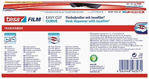 tesa Easy Cut Curve Tischabroller (rutschfest, einfache Handhabung, sauberer Schnitt mit 1 Rolle tesafilm transparent 10m x 19mm)