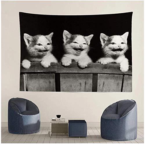 KBIASD Tapiz de Gatos Que se ríen, decoración del hogar, Mantel para Colgar en la Pared, Estera de Picnic, Almohadilla para Dormir al Aire Libre, Fondo fotográfico 150x130cm