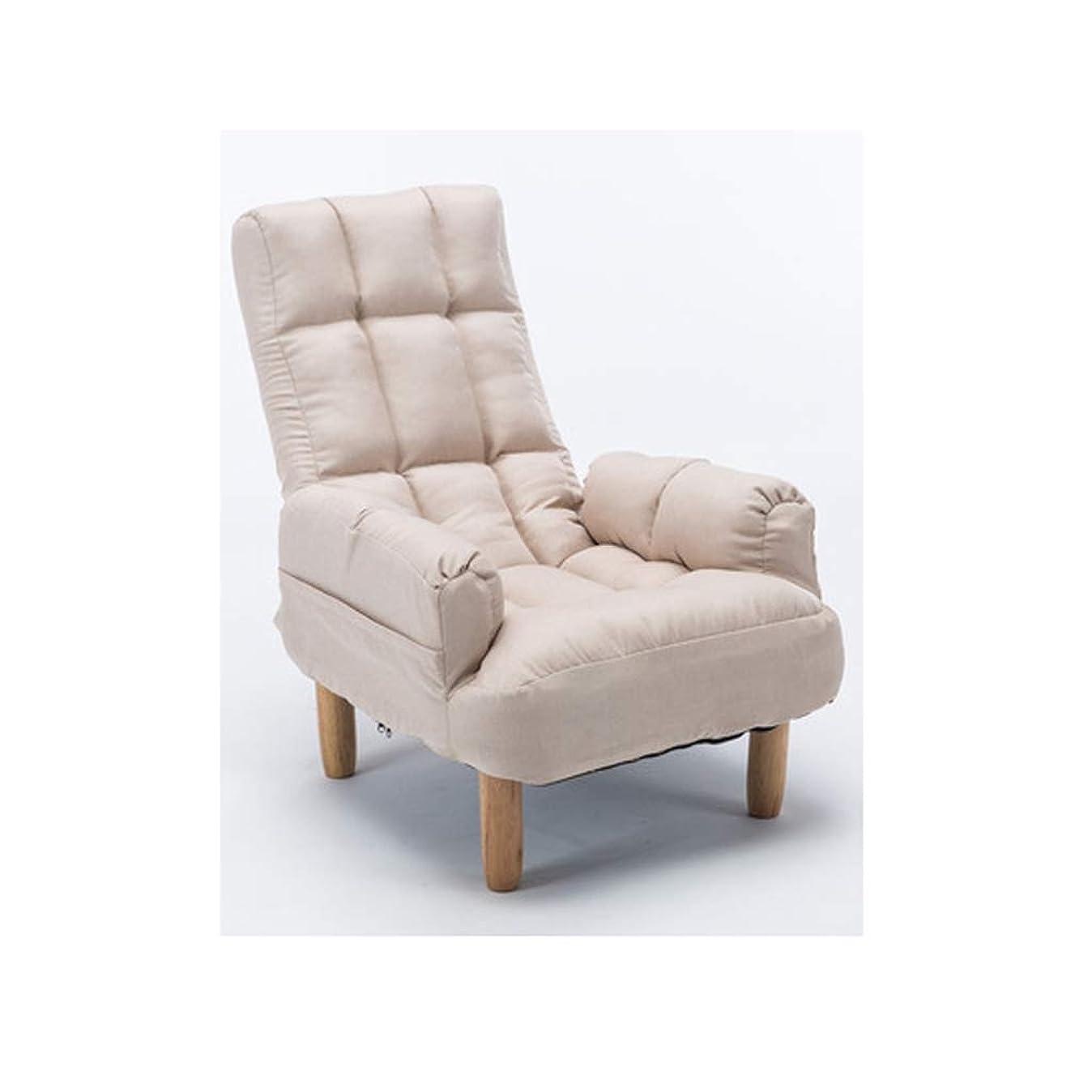ホットスライスターミナルLWT チェア 怠惰なソファの椅子快適な折り畳み式のリクライナーシングルファブリックソファ (Color : White)