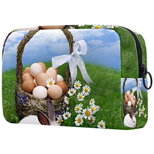 Makeup Bag Travel Cosmetic Bag Pouch Purse Handbag with Zipper - Easter Basket Eggs Bunny