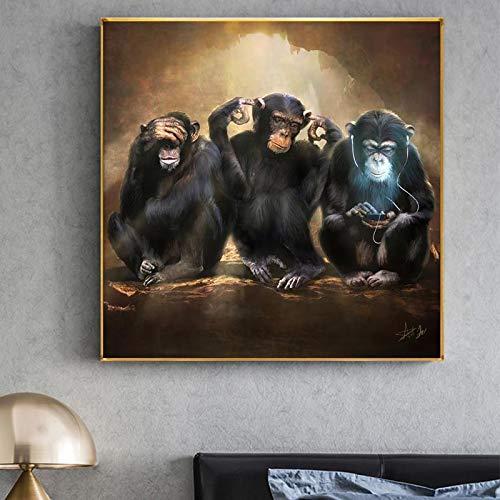 fdgdfgd Retro Animal Art Partner Monkey Wall Art póster Imprime decoración de la Sala de Estar