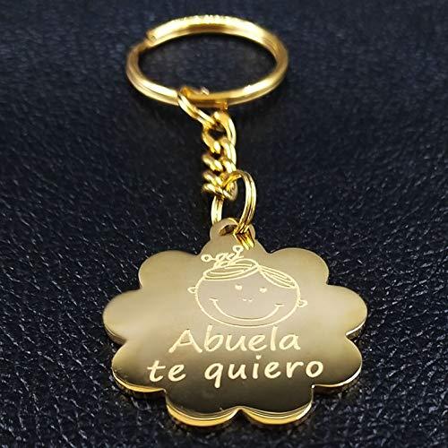 N/ A Mode Abuela Te Quiero Edelstahl Schlüsselanhänger für Frauen Gold Farbe Schlüsselanhänger Schmuck llaveros para Mujer