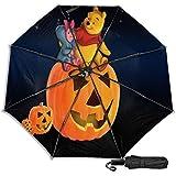 Compact Manual Open/Close Trifold Travel Anti-Uv Umbrella, Windproof Folding Reverse Portable Outdoor Parasol Umbrella Rain&Sun, Disney Winnie Pooh and Pigle Pumpkin Lamp