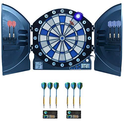 Best Sporting elektronische Dartscheibe Cambridge mit LED beleuchteten Ziffern, Kabinett Dartboard inklusive Netzteil, Batteriebetrieb möglich (Dartscheibe mit 6 Pfeilen + 6 Pfeile 16 g)