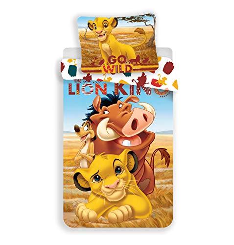 Der König der Löwen Bettwäsche kinder disney Bettbezug 140x200 Set 1 Person reversibel 100% Baumwolle Junge Mädche