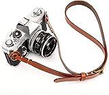 CANPIS Correa de piel auténtica hecha a mano para cámara Nikon Canon, Sony, Pentax, Leica, Olympus Fuji (marrón)