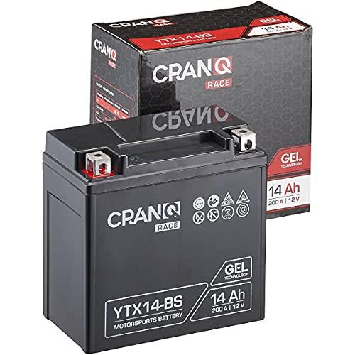 CranQ Motorradbatterie YTX14-BS 14Ah 200A 12V Gel-Technologie Roller Starter-Batterie zyklenfest, sicher lagerfähig, wartungsfrei