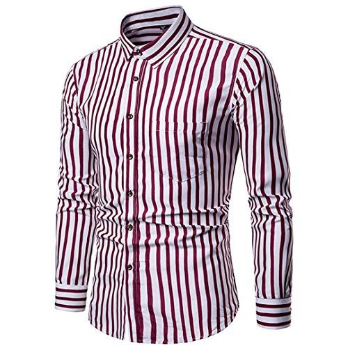 Herren Funky Floral Checked Shirt Lässiges Langarmhemd Button Langarmhemden Printed T-Shirt Kariertes Freizeithemd,A,XXL
