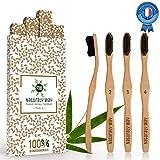Naturaly Way - Brosse à dent bambou Écologique Premium - Poils médium charbon -...