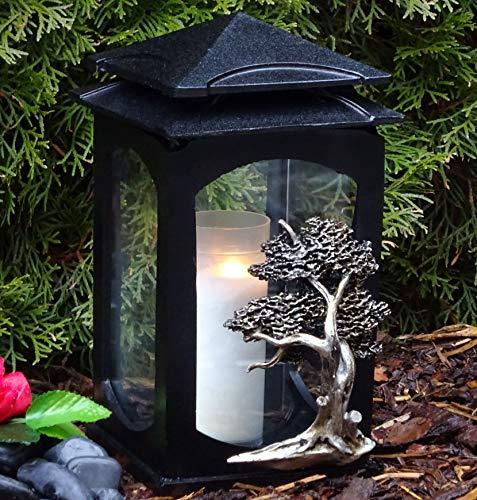 ♥ Grablaterne Grablampe Lebensbaum Baum des Lebens Massiv Schwarz incl. Grabkerze Grabdekoration Grablaterne Grablicht Grabschmuck Grableuchte Laterne