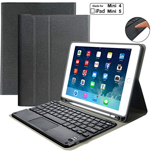 "iPad Keyboard Case for iPad Mini 4/iPad Mini 5 -Eoso iPad Cover with Keyboard Built-in Touchpad & Pencil Holder (7.9"", Black)"