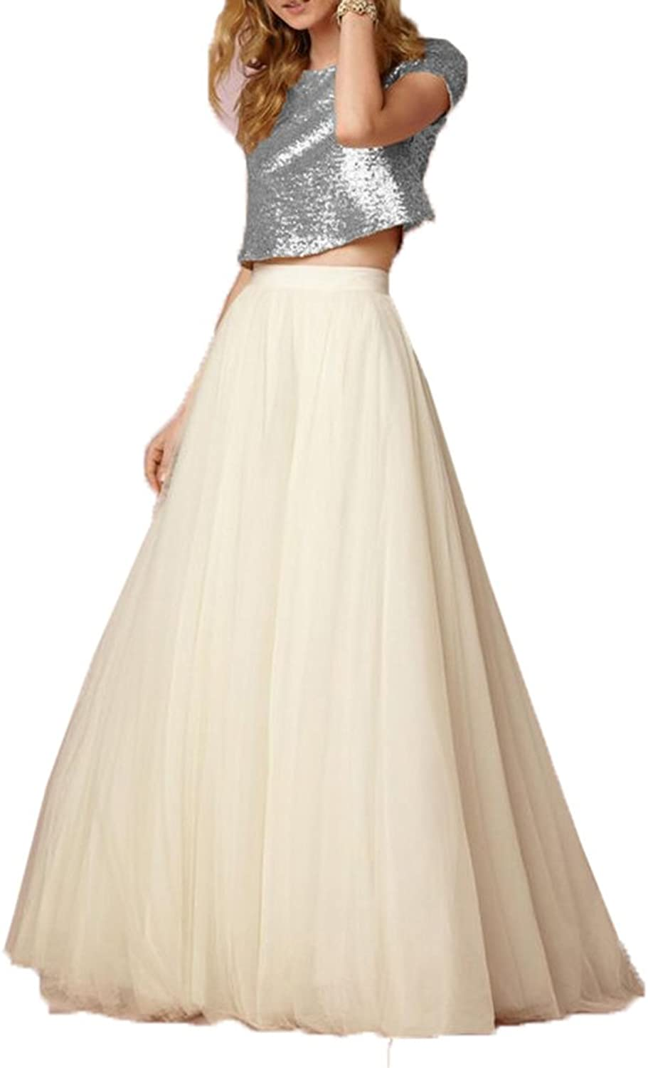 Honey Qiao pink gold Bridesmaid Dresses Short Sleeves Two Pieces Sequins Tank Tulle Skirt
