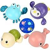 MMTX Baby Badespielzeug Baby ab 6 Monate, Badewannenspielzeug Schildkröten Wal Krabbe Pinguin, Mechanik zum Aufziehen, Schwimmen bis 15s, Wasserspielzeug Baby Bade Schwimmen Badewanne Pool Spielzeug