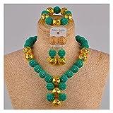 LPZW Juego de joyería Africano de Oro simulado de Color Beige Conjuntos de Boda nigerianos Collar de Vestuario FZZ30-06 (Metal Color : Teal Green)