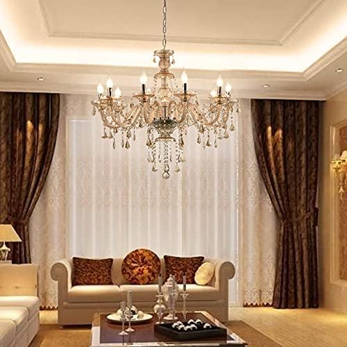 Samger Samger Luxuriöse 10 Arm Kronleuchter K9 Kristallglas Deckenleuchte Pendelleuchte Cognac Farbe für Wohnzimmer Schlafzimmer Flur Eintrag - 8
