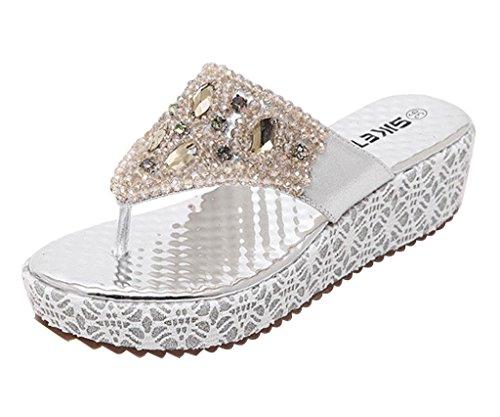 Minetom Damen Mode Sandalen Faux Strass Perlen Flip Flops Sommer Pantoffeln Mit Keilabsatz Silber 38