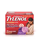 Children's Tylenol Chewables, 160 mg Acetaminophen for Pain & Fever Relief, Grape, 24 ct