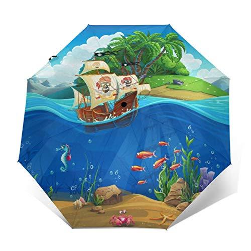 Ombrello subacqueo a prova di vento compatto per donne e uomini da viaggio pieghevole ombrello