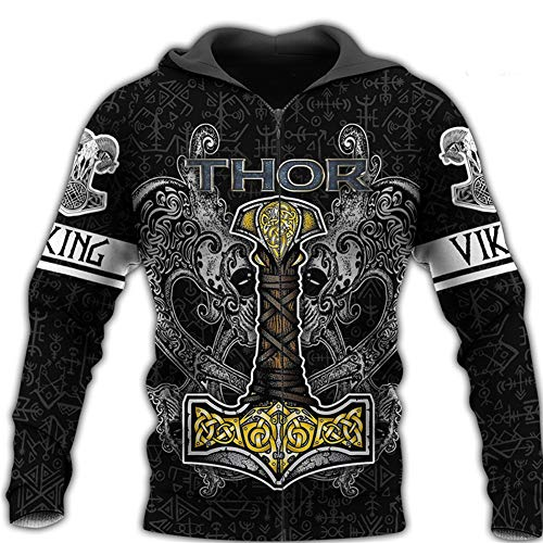 Mens Long Sleeve Viking Tattoo 3D Printed Hoodie Norse Mythology Odin Thors Hammer and Celtic Dragon Pattern Pullover Sweatshirt Autumn Unisex Hip Hop Street JacketHoodie ZipL