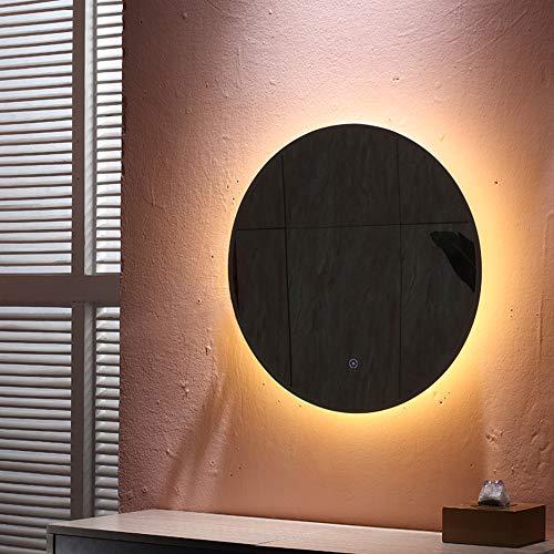 Turefans 24W, Runder LED-Spiegel, Badezimmerspiegel, warmweiß, beschlagfrei, (70 * 70cm)