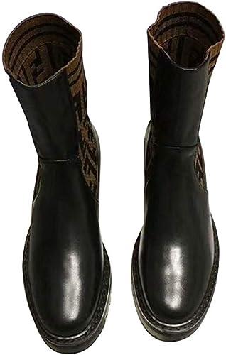 Qiusa Bottes d'hiver Femme en Cuir avec Bottes Tout-Aller pour Hommes (Couleuré   Noir, Taille   36EU)