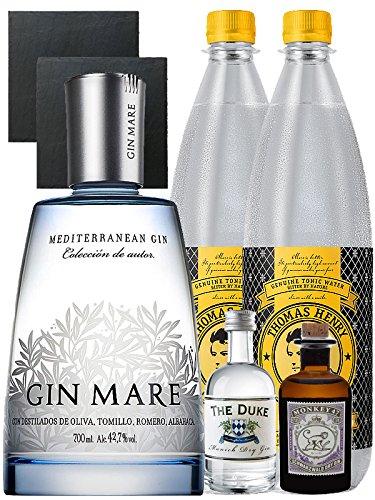 Gin-Set Gin Mare aus Spanien 0,7 Liter + The Duke München Dry Gin 5 cl + Monkey 47 Schwarzwald Dry Gin 5 cl MINIATUR + 2 x Thomas Henry Tonic Water 1,0 Liter + 2 Schieferuntersetzer quadratisch 9,5 cm