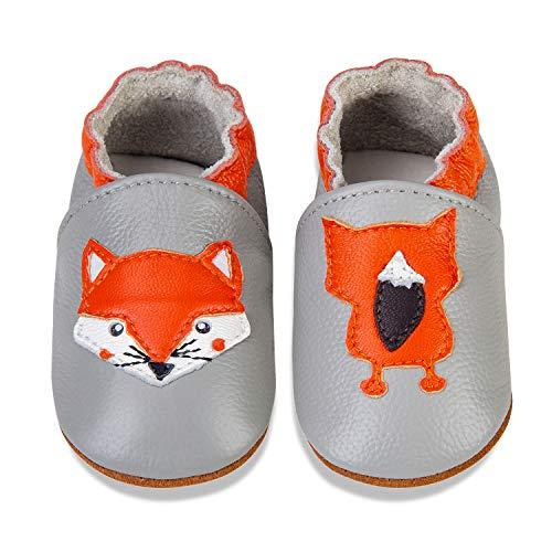 Rotok Zapatos para bebé para aprender a andar para niños y niñas, de piel suave, zapatos para bebés, suela de ante antideslizante, 0-24 meses, color Gris, talla 12-18 meses